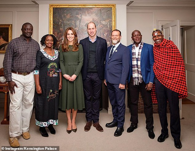 Dr Gladys Nakalema with other nominees for the TUSK awards pose for a group photo with the Duke & Duchess of Cambridge