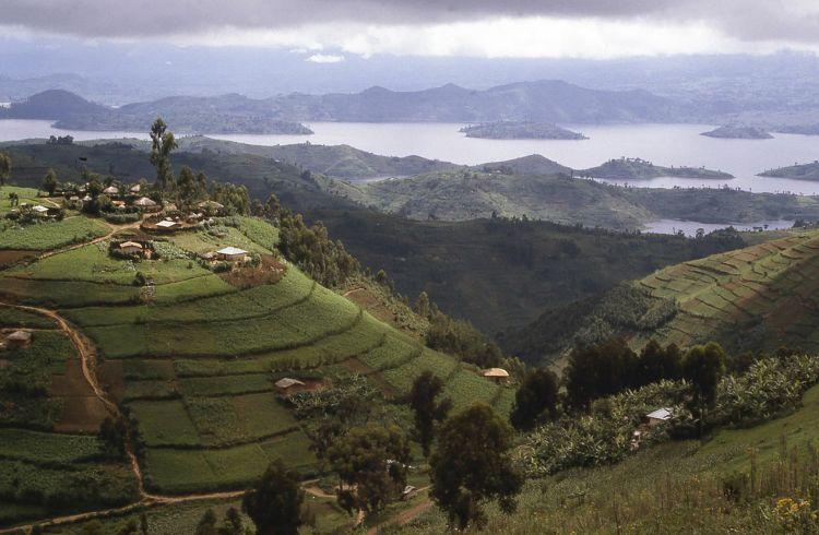 Hilltop Village overlooking Lake Ruhondo Central Highlands Rwanda Africa